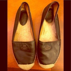 "Coach black leather ""Rhodelle"" espadrilles"